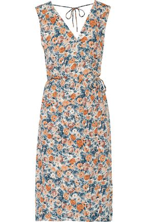 CURRENT/ELLIOTT Wrap-effect floral-print crepe dress