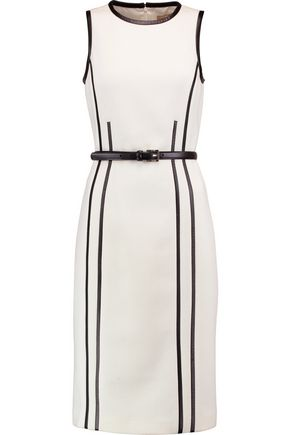MICHAEL KORS COLLECTION Belted leather-trimmed stretch wool-crepe dress