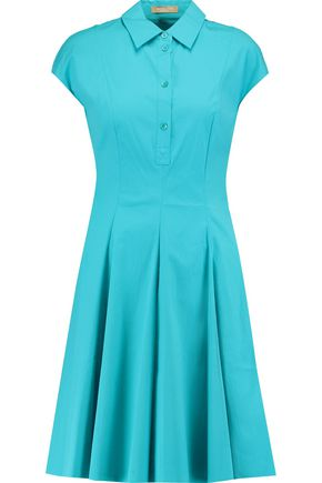 MICHAEL KORS COLLECTION Pleated stretch-cotton poplin mini dress