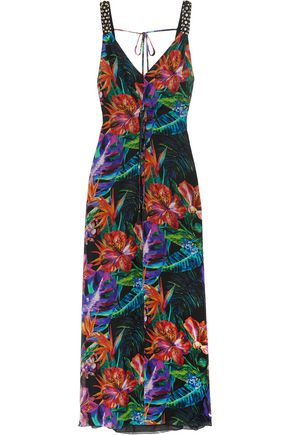 MATTHEW WILLIAMSON Embellished floral-print silk-chiffon gown