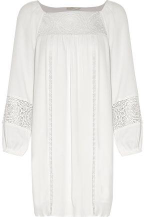 JOIE Tabara lace-paneled pleated crepe mini dress