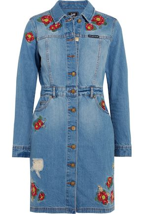 HOUSE OF HOLLAND + Lee embroidered denim mini dress