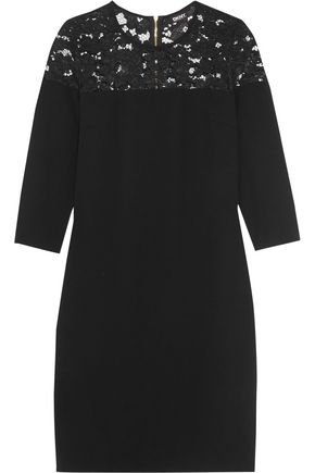 DKNY Lace-paneled crepe dress