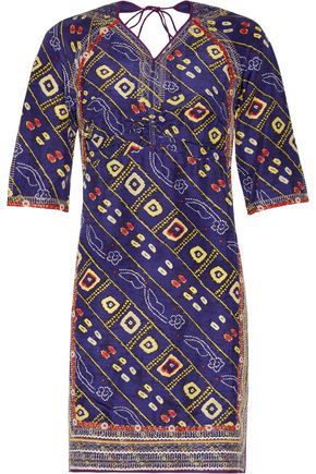 ISABEL MARANT Tacey open-back embroidered printed silk-satin mini dress