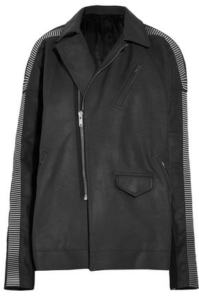 RICK OWENS Metal-trimmed wool-paneled leather jacket