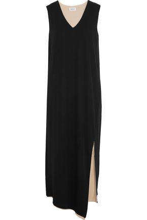 DKNY Reversible asymmetric crepe de chine midi dress