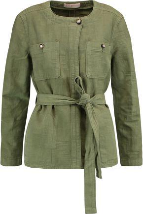 TORY BURCH Everett belted cotton-jacquard jacket