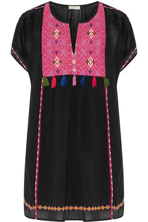 JOIE Lucretia embroidered tassel-trimmed cotton-gauze mini dress