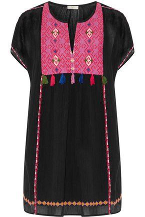 JOIE Lucretia embroidered tassel-trimmed cotton-gauze mini dress