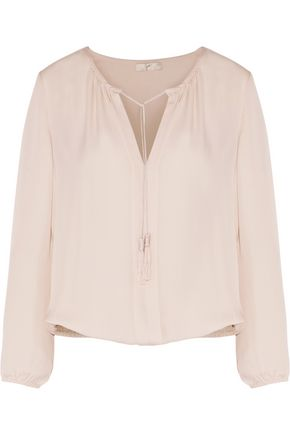 JOIE Jacinta tassel-trimmed silk crepe de chine blouse