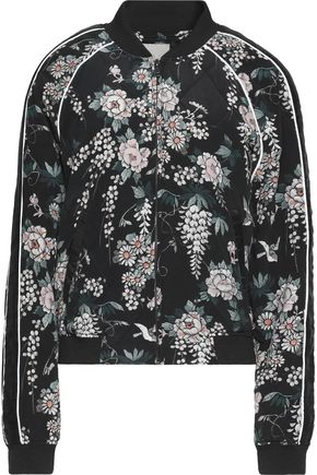 JOIE Mace quilted floral-print silk bomber jacket