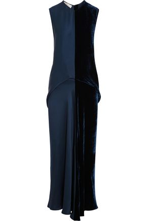 STELLA McCARTNEY Graziella satin and velvet maxi dress