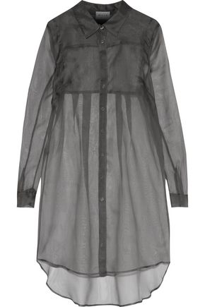 MILLY Pleated silk-organza mini shirt dress