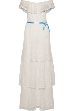 Gertie Off-The-Shoulder Embroidered Cotton-Blend Mesh Maxi Dress, Ivory