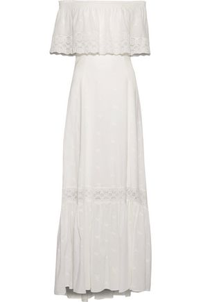 JOIE Gerda off-the-shoulder embroidered cotton-broadcloth maxi dress
