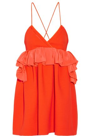 VICTORIA, VICTORIA BECKHAM Ruffled silk-trimmed wool mini dress