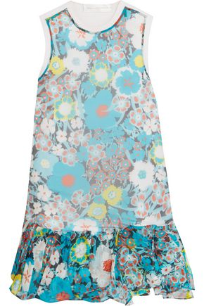 VICTORIA, VICTORIA BECKHAM Paneled printed silk and cotton mini dress