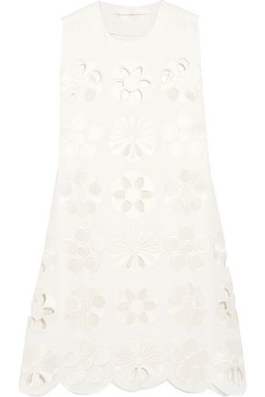 VICTORIA, VICTORIA BECKHAM Broderie anglaise crepe mini dress