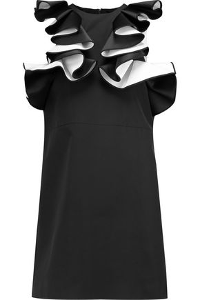 VICTORIA, VICTORIA BECKHAM Ruffled satin-crepe mini dress