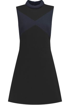 VICTORIA, VICTORIA BECKHAM Two-tone wool mini dress