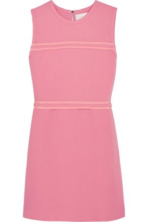 VICTORIA, VICTORIA BECKHAM Silk georgette-trimmed wool-crepe mini dress