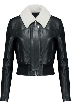 HELMUT LANG Shearling-trimmed leather biker jacket
