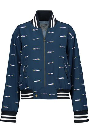 SEA Printed silk crepe de chine bomber jacket