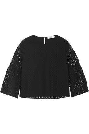 TIBI Laser-cut cotton top