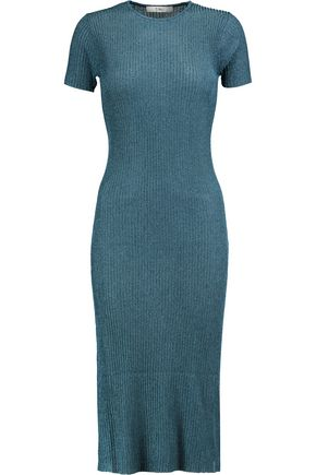TIBI Metallic ribbed stretch-knit midi dress