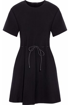 ALEXANDER WANG Leather-trimmed crepe mini dress