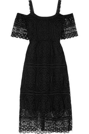 TEMPERLEY LONDON Titania cold-shoulder macramé lace midi dress