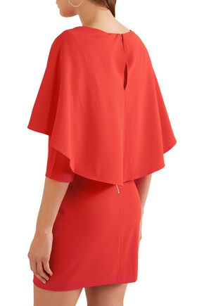 ALICE + OLIVIA Cape-effect grosgrain-trimmed crepe mini dress