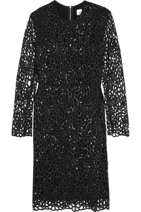 IRIS & INK Ray sequined laser-cut cady mini dress