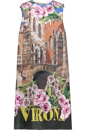 DOLCE & GABBANA Appliquéd printed silk mini dress