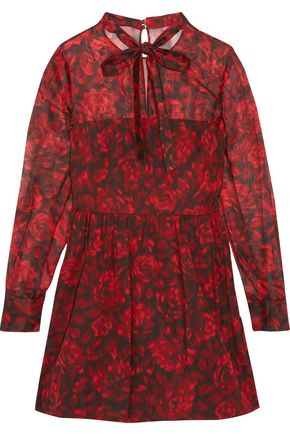 VALENTINO Floral-print cotton and silk-blend mini dress