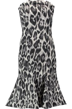 LANVIN Fluted leopard-print crepe dress