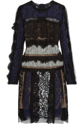 LANVIN Paneled cotton-blend corded lace and mesh dress
