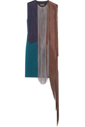 LANVIN Fringed wool-blend mini dress