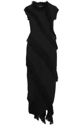 LANVIN Fringed wool-blend midi dress