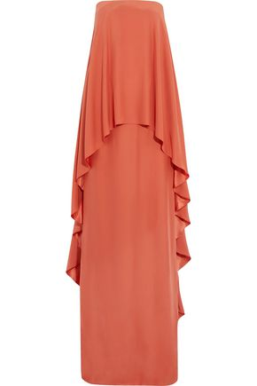 LANVIN Strapless layered silk gown