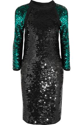 LANVIN Cotton grosgrain-trimmed sequined jersey midi dress