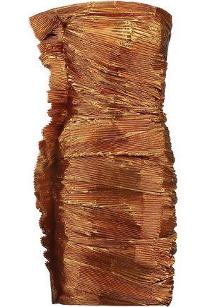LANVIN Strapless metallic pleated lamé dress