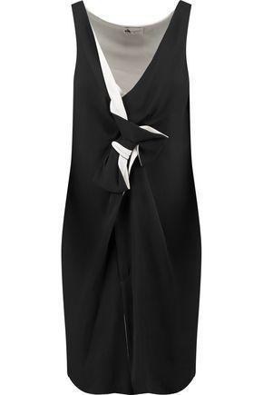 LANVIN Bow-embellished gathered silk-crepe dress