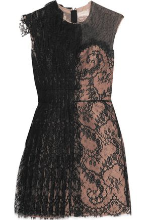 LANVIN Swiss dot tulle-paneled lace mini dress