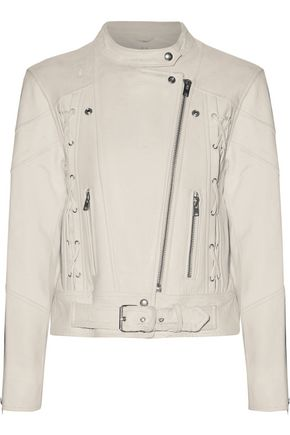 IRO Totem lace-up cracked-leather biker jacket