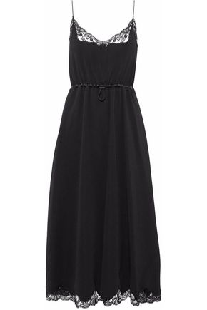 ALEXANDER WANG Lace-trimmed gathered crepe midi dress