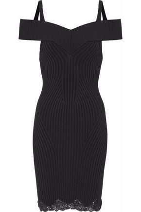 ALEXANDER WANG Off-the-shoulder ribbed wool and silk-blend mini dress