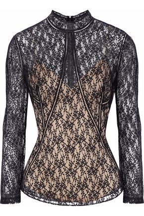 ALEXANDER WANG Layered embroidered lace tulle top