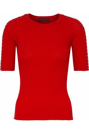 ALEXANDER WANG Ring-embellished ribbed cotton top