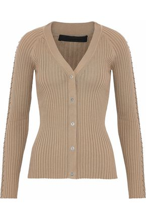 ALEXANDER WANG Ring-embellished ribbed-knit cotton cardigan